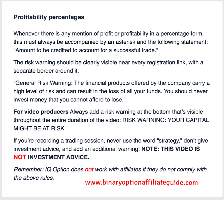 IQ Option Affiliate Prohibited Activities 2